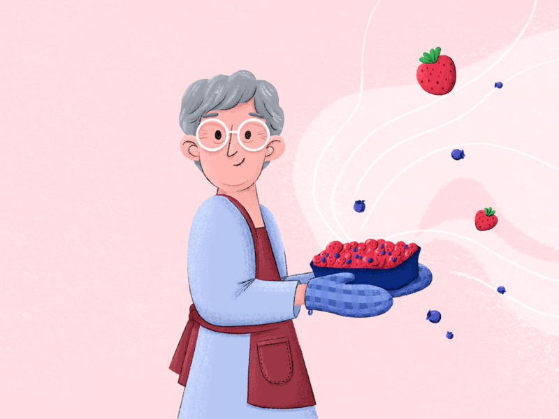 Grandma's Kitchen 1/3 design ipadpro procreate elderly animation swirl glasses mittens apron grandmother grandma blueberries blueberry strawberries strawberry illustration