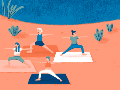 How to Yoga 🧘 bee a2 poster illustration digital illustration yoga pants crop top communication sport colorful color palette botanical plants swimming lake yoga mat yoga pose warrior yoga