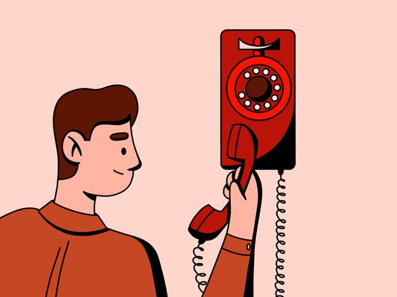 Who just called? poster poster design bingo murakami haruki mystery retro phone call flat design vectorart vector procreate illustration