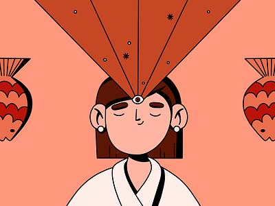 Magical occurrence stars earrings japanese japan magic eye seeing magical fish vector girl design ipadpro procreate illustration