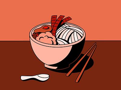 Simple meal color palette flat vector design illustration miso tshirt tshirt design chopsticks noodles ramen meal simple