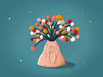 Walrus Vase textures brushes pencil ipadpro procreate illustration flower illustration water bouquet flower vase walrus
