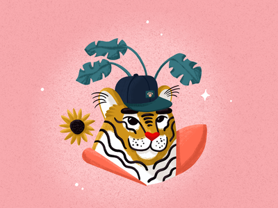 Team Player cat botanical pencil ipadpro procreate illustration illustrator cap player team tiger