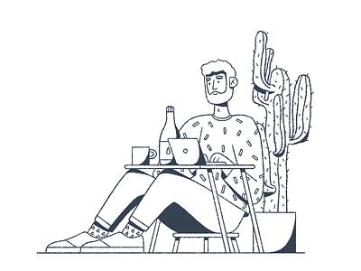 Desk code tall guy desk procreate illustration