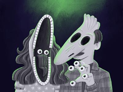 Barb & Adam inktober2020 inktober tim burton horror masks beetlejuice ipadpro procreate illustration