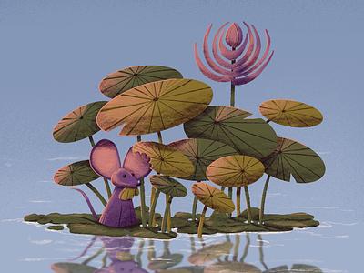 Nom. botanical pencil design ipadpro procreate illustration plants reflection water color palette 6hexcodes botany ears mouse nom