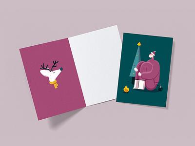Reindeer mug fireplace christmas tree santa ipadpro illustration procreate christmas cards reindeer
