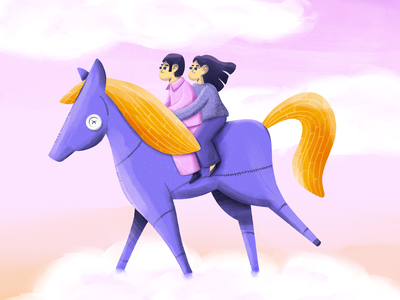 The Science of Sleep pastel pencil ipadpro procreate illustration dreamy clouds riding horse movie fanart scienceofsleep