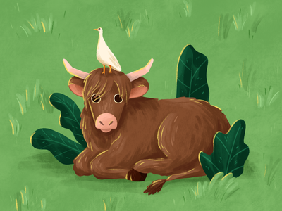 Year of the Ox (sort of) plants ipadpro procreate illustration outdoors new year chinesenewyear yearoftheox grass highlander highland cow heron ox