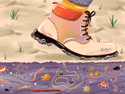 Biodiversity procreate illustration insects worms soil boot onetreeplanted letsdrawthechange ourplanetweek