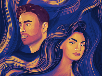 Golven (Waves) color palette girl design pencil ipadpro procreate illustration smooth textures song music cover music cover art waves