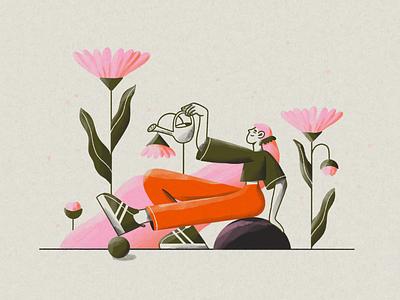 DTIYS sneakers girl plants pencil color palette procreate illustration challenge dtiys drawthisinyourstyle
