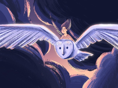 Spirit - Inktober #6 light sunset pencil ipadpro procreate illustration girl clouds flying spirit animal spirit owl inktober 2021 inktober