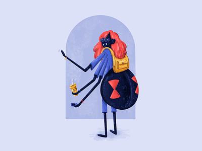 Widow 🕷️ texture procreate university illustration character design spider widow black widow challenge character design challenge character