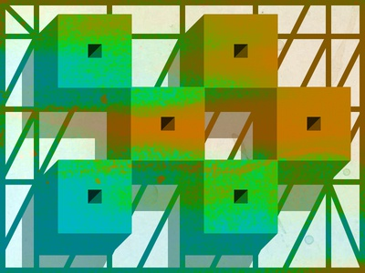 Grid Explorer 2 geometry oblique minimal color poster shape