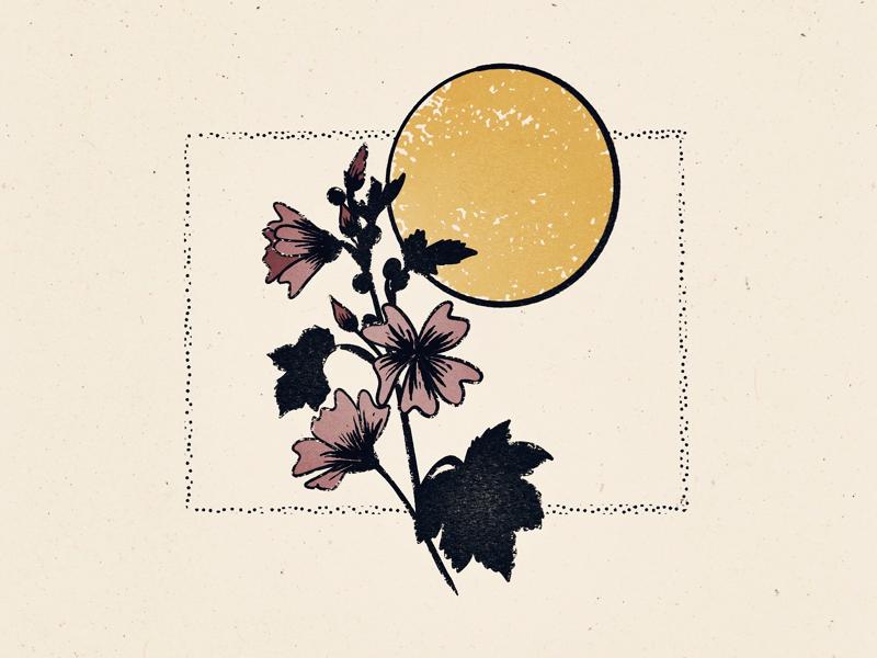 Floral Moonrise moon floral flower procreate