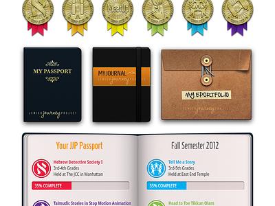 UI Collection for Site & App photoshop ui vector medal badge 3d jjp jewish journey project icons portfolio passport journal