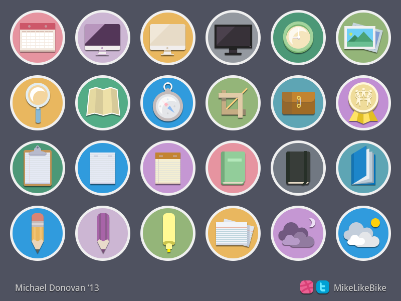 Icons collection flat circles