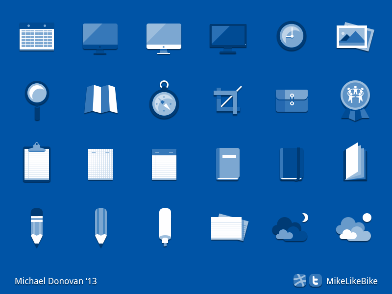 Icons collection flat desaturated blue
