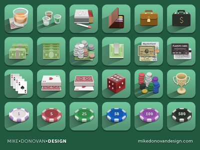 Icon Collection: Casino & Gaming photoshop ui vector icons casino gaming money dice chips trophy playing cards psd