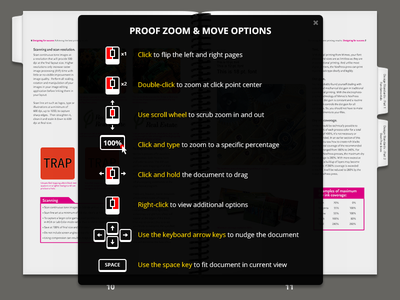 Icons & Options to Zoom & Move mimeo icons iconography flat proof keyboard scroll keys click mouse