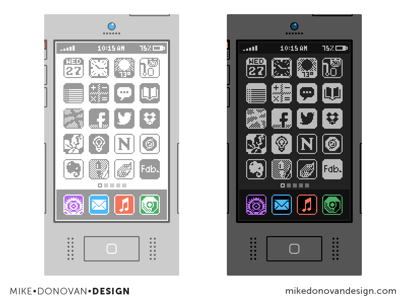 Flat Throwback iPhone Concepts (Highlight) flat throwback 8-bit buttons homescreen iphone apple ios ui photoshop vector icons