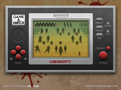 Handheld Video Game UI (Assassin's Creed) ui photoshop vector video game buttons icons lcd screen assassins creed