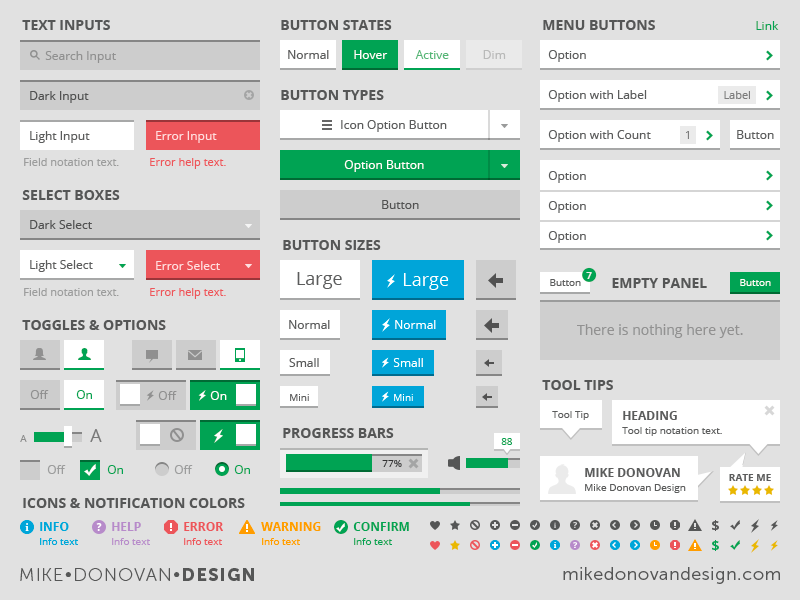 UI Kit (Flat Light) tool tip icons sliders toggles buttons photoshop vector ui search form elements flat psd