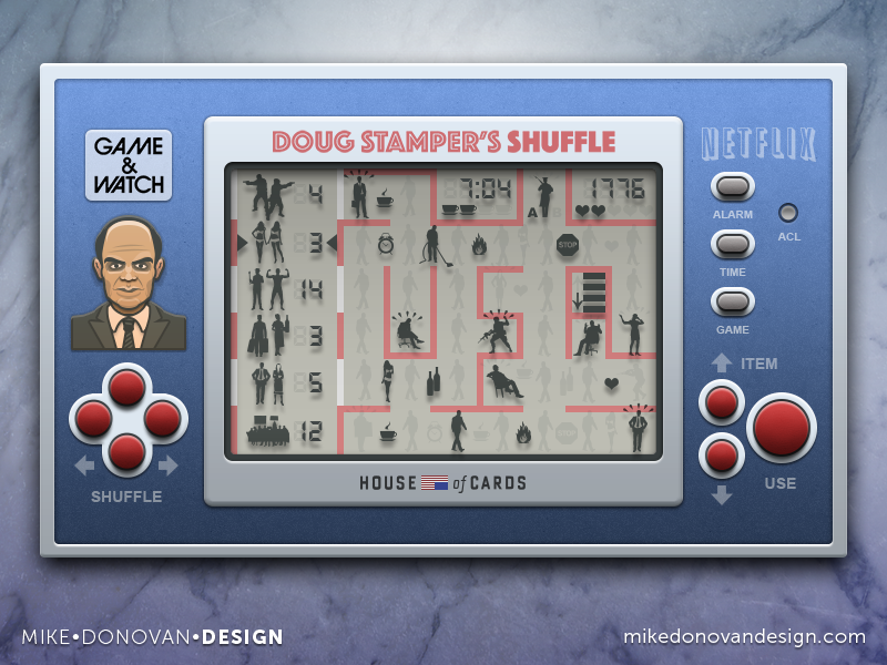 Handheld Video Game (Doug Stamper's Shuffle) house of cards ui photoshop vector video game buttons icons lcd screen