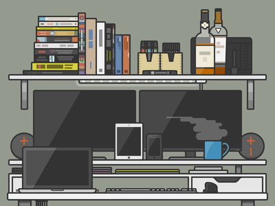 My Home Office Illustrated tech apple books desk gadgets flat office illustrator vector