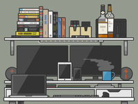 My Home Office Illustrated tech apple books desk gadgets flat office illustrator vector