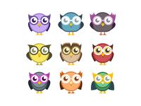 Owls bird eye owl character animal illustration flat photoshop vector