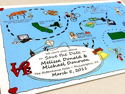 Save the Date Postcard print illustration map handwriting wedding invitation postcard save the date