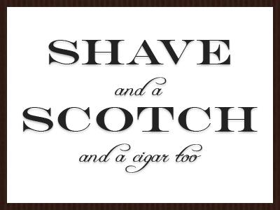 Shave, Scotch, and a Cigar Too invitation wedding groomsmen print design