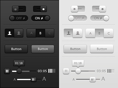 Toggles, Buttons and Sliders UI freebie psd ui vector photoshop buttons toggles sliders icons iconography media player tool tip