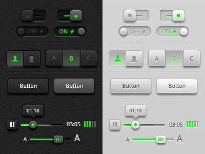 Toggles, Buttons and Sliders UI Redux psd freebie tool tip media player iconography icons sliders toggles buttons photoshop vector ui