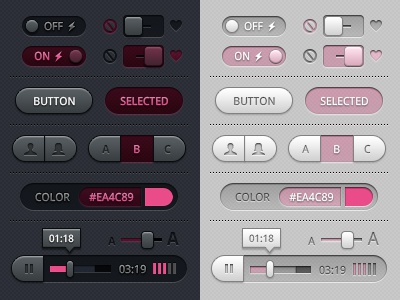 Toggles, Buttons and Sliders UI (Baby Pink) ui vector photoshop buttons toggles sliders icons iconography media player tool tip freebie psd color picker swatch