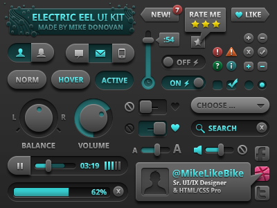 UI Kit (Electric Eel) volume rating form elements earch label profile ui vector photoshop buttons toggles sliders icons iconography media player tool tip psd
