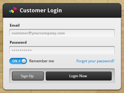 Customer Login UI ui photoshop vector login icons iconography forms buttons modules dialogs