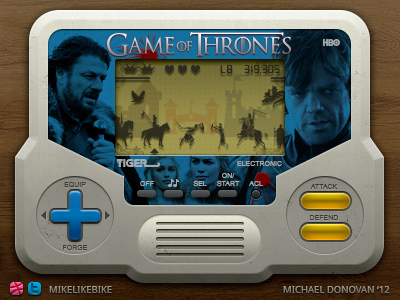 """Handheld """"Video Game"""" of Thrones UI ui photoshop vector video game buttons icons iconography lcd screen"""