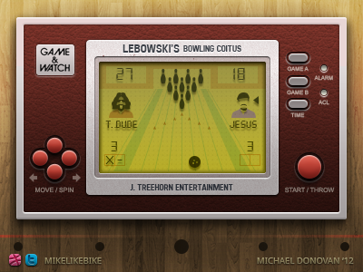 Handheld Video Game UI (The Big Lebowski) screen lcd iconography icons buttons video game vector photoshop ui the big lebowski