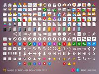 200+ Flat Icons (Mimeo UI WIP Set)