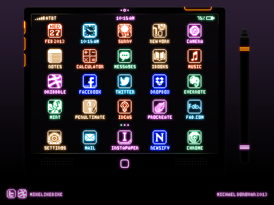 iPad & Stylus Retro Electronica UI stylus legacy 8-bit buttons toggles switches homescreen ipad apple ios ui photoshop vector icons iconography electronic led neon glow