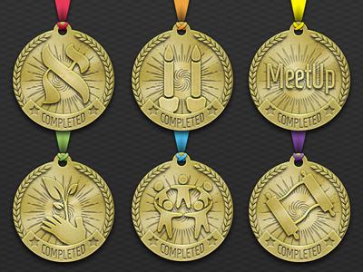 Course Completion Medals jewish journey project jjp 3d ribbon award badge medal skeuomorphic vector ui photoshop