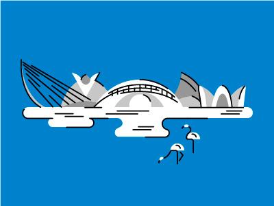 la ciudad de las artes y las ciencias Valencia landscape map color design flat graphic minimal city character illustration