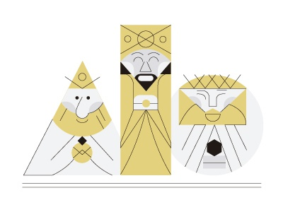 The three wise men color design flat graphic minimal city character illustration