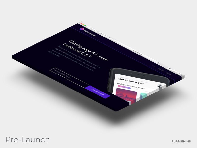 PURPLEMIND Landing Page Design isometric startup purple mind page landing