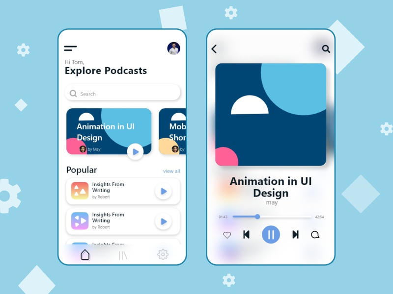 Podcast App Ui mockup ux minimal mobile app app podcast ui design