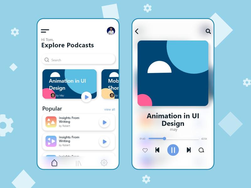 Podcast App Ui mockup ux minimal mobile app app podcast ui design