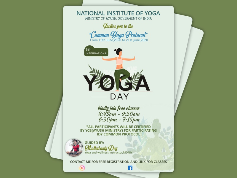International Yoga Day Flyer yoga minimal poster flyer design flyer illustration design